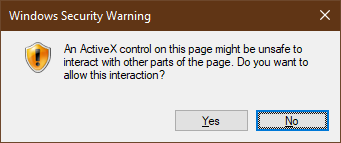 ActiveX control Windows Security Warning dialog