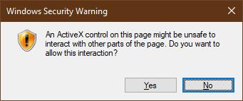 ActiveX control Windows Security Warning dialog